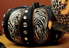 DIY Zebra Craft Pumpkin project - tissue paper & modge podge!