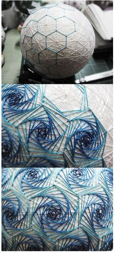 DIY Handmade: Haftowane bombki, kule Temari - DIY how do I block off hexagons like this? Quilted Ornaments, Ball Ornaments, Arte Linear, Temari Patterns, Diy And Crafts, Arts And Crafts, Paper Balls, String Art Patterns, Passementerie
