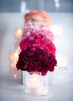 Stunning Wedding Ombré Centerpieces: This simple monofloral look is created by arranging flowers of the same kind in short, tight arrangements by color, across a banquet table.