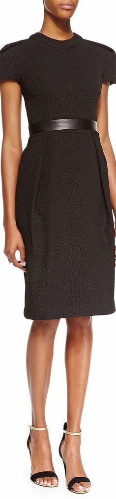 Carmen Marc Valvo  Cap-Sleeve Leather-Waist Dress, Black