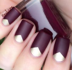 Essie polish - Meet me in the Lobby & Good as Gold topped with matte. Chevron vinyls from @snailvinyls