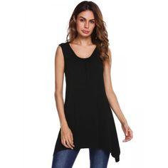 #AdoreWe #Dresslink Dresslink Black Solid Ruched Scoop Neck Sleeveless Loose Tank Tops - AdoreWe.com