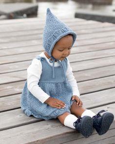 Klara kjole-romper & kyse | Sparkjøp Strikkeblogg Baby Gym, Hipster, Rompers, Children, Style, Fashion, Tejidos, Kids, Moda