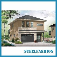This is a small-sized small steel frame building. Area 70sqm, with a garage. There is only one bedroom on the first floor and the garage takes up a relatively large area. The second floor can be designed into three bedrooms, a living room, a bathroom and a kitchen. Although the structure is very compact, it is very suitable as a holiday home. Prefabricated Homes For Sale, Prefab Homes, Steel Frame House, Steel House, Steel Building Homes, Building A House, Modern Modular Homes, Manufactured Homes For Sale, Steel Buildings