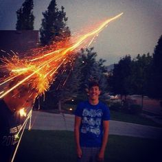 Perfectly timed picture. Firework bounced off of my friends daughters head. - Imgur