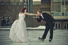 Wedding on Ice - Bride(Ice Skater) Groom (Hockey Player)