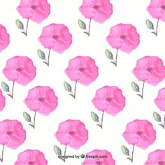 Free vector Hand painted pink flowers background #11873