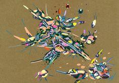 2018-033, par Dominique Vial.  #dessin #art #abstrait #faitMain #2018 #drawing #dessin #colors #couleurs #molotow #marker #marqueur #abstract #artabstrait #abstractart #kraft #acrylic #acrylique