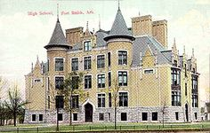 Fort Smith High School, today's Darby Junior High School, stands at Grand Avenue and North 14th Street, seen here probably sometime between 1900 and 1913.
