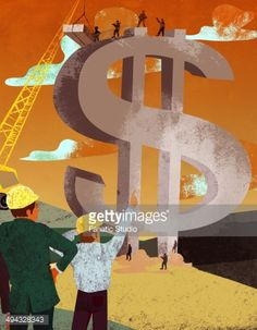 Stock Illustration : Businessman and an architect constructing dollar sign money building