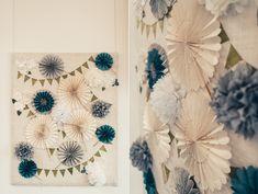 #wedding ceremony backdrop idea - pinwheels and pom poms!