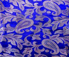 paisley silk fabric | Blue Paisley Design Silk Brocade Fabric Fat Quarter India