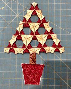 Very nice fabric Origami Christmas Tree Tutorial