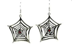 Red Stone Spider Web Gothic Earrings