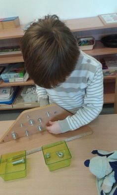Nuts and Bolts board Montessori practical life activity for fine motor. Montessori Activities, Motor Activities, Toddler Activities, Montessori Practical Life, Woodworking For Kids, Fine Motor Skills, In Kindergarten, Pre School, Fun Learning