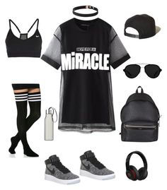 """""""Athleisure"""" by thriftytee ❤ liked on Polyvore featuring Chicnova Fashion, NIKE, Yves Saint Laurent, Brixton, 3.1 Phillip Lim, Eva Solo and Beats by Dr. Dre"""