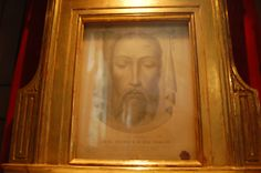 Shrine of the Holy Face of Jesus in the Chapel of the Holy Spirit.  Original papal document dated 1895 of an appearance of the living face of Christ on a Veronicas Veil witnessed by many during veneration.