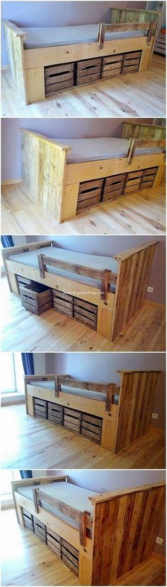 This is much an easy and simple project of the wood pallet in the form of the bed frame perfection. Here the overall designing of the bed is rather simple because the pallet planks are being cut down in the similar variations of shaping as you need. Attach them together and end it up with classy bed.