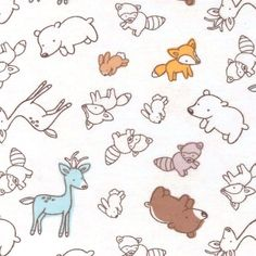 Nursery Fabric- Outlined Animals Flannel at Joann.com