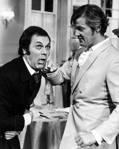 Tony Curtis & Roger Moore, The Persuaders, 1971, male actors, great guys, punch, tv series, dear memories, photo b/w.