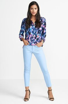 NYDJ Blouse & 'Clarissa' Skinny Jeans available at #Nordstrom #Text2buy and Opt into quick and easy style tips from your favorite style expert 516-900-7288