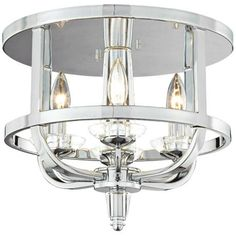 """Senze Collection 14 1/2"""" Wide Chrome Ceiling Light - 14.5x11.5 $368"""