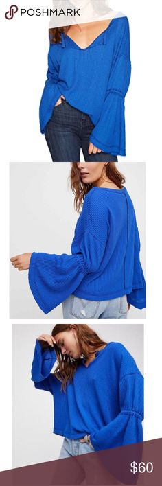 Free People bell sleeve thermal knit sweater NWT Free People Dahlia thermal knit bell sleeve sweater Sapphire   From Free People, this top features: ultra soft and stretchy fabrication V-neckline Long bell sleeves Pullover construction Polyester/cotton/viscose  ONE of each size available.   ❌NO TRADES❌ ❌NO LOWBALL OFFERS❌ ✔️REASONABLE OFFERS WELCOME Free People Sweaters V-Necks