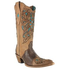 Corral Women's Floral Tooled Inlay Western Boots