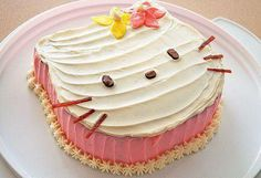 Hello Kitty frosted cake - we are not Hello Kitty fans....but a beautiful FROSTED cake- no fondant!