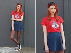 Get this look: http://lb.nu/look/7264896  More looks by Hannah Louise: http://lb.nu/hannahlouisef  Items in this look:  Lazy Oaf 'Happy Crap' Tee, American Apparel Denim Circle Skirt, Comme Des Garçons Trainers   #casual #preppy #street