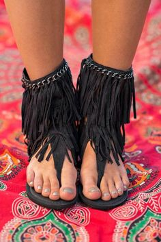 A Walk To Remember Mid-Calf Fringe Sandals (Black) Boho Sandals, Fringe Sandals, Sandals Outfit, Cute Sandals, Cute Shoes, Black Sandals, Me Too Shoes, Black Shoes, Boho Shoes
