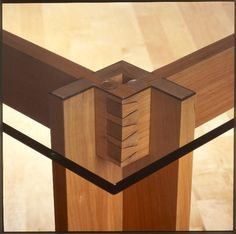 Beautiful Joinery Cherry Dining Room Table with Glass Top: