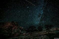 Night sky above Enchanted Rock. Fredericksburg, Texas