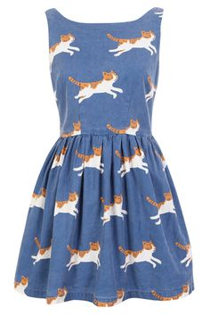 Running Cat Cute Retro Sundress Would look great with a cute Victorian jacket and a petticoat.