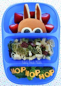 peeking bunny in a kids spring lunch, cute and healthy!