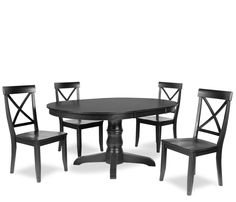 Westport 5-Piece Dining Set - Black - Constructed of all solid plantation grown select Asian hardwoods, the Westport collection is stocked in a rich black rub thru finish and a warm distressed
