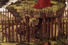 'Agony in the Garden', Botticelli, c. 1500, Oil on canvas. Detail of path and tomb below.