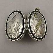 Antique Victorian Silver 'Birds & Butterflies' Silver & 9ct Gold Locket