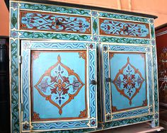 Mexican Painted Furniture | ... of a cabinet like this if the total painted look is too busy, right