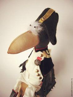 Купить Ворон Наполеон. Интерьерная текстильная игрушка. - черный, грунтованный текстиль, текстильная игрушка, ворон
