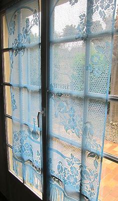 blue lace curtains | curtains | Pinterest | Lace, Vintage and Blue ...
