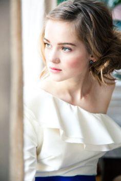 I love a flouncy one shoulder blouse.