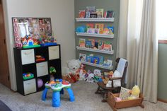Our playroom with rain gutter book shelves