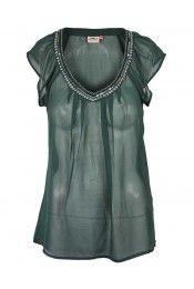 Vinny Sl Chiffon top darkes spruce groen 24,95 bij Van den Belt mode