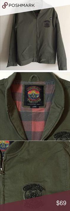 RVCA x Christian Fletcher bomber jacket RVCA x Christian Fletcher bomber jacket in military green cotton- EUC RVCA Jackets & Coats Bomber & Varsity