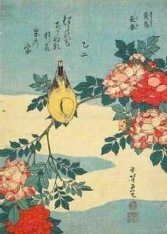 Хокусай Кацусика Nightengale и спрей роз 1832