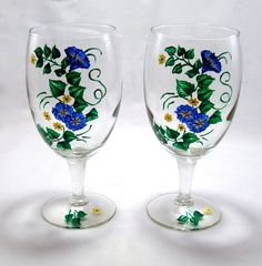 #Wine #Glasses With Blue and Yellow #Flowers #thecraftstar $20.00