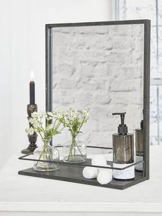 Distressed Metal Shelf Mirror #nordichouse#mirror#industrial