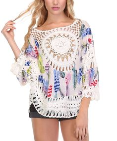 Trendology Blue Feather Crochet-Accent Cape-Sleeve Top by Trendology #zulily #zulilyfinds