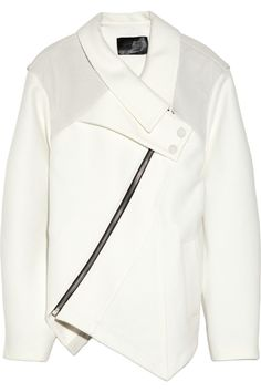 #WINTERWHITE Obsession - Proenza Schouler | Asymmetric leather-coated woven cotton jacket | featured @NETAPORTER